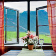 Stock Photo: Window with view of mountains, Norway
