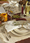 Harvest table setting, oranges, yellows, golds, and browns — Stock Photo