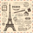 Paris postage design elements — Stock Vector #48981647
