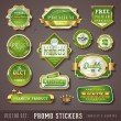 Green and golden quality stickers — Stock Vector #48981839