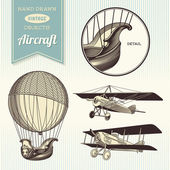 Hand-drawn vintage aircraft — Stock Vector