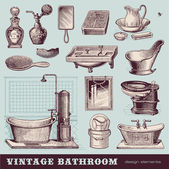 Vintage bathroom — Vector de stock