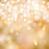 Golden Christmas lights background — Vector de stock