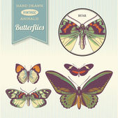 Hand-drawn vintage butterflies — Vector de stock