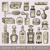 Set of vintage beauty and cosmetics — Stock Vector