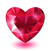 Red diamond jewel heart — Stock Vector