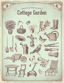 Garden cottage — Vector de stock