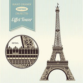 Hand-drawn vintage Eiffel Tower — Stock Vector