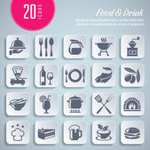 Set of food and drink themed icons — Stock Vector
