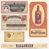 Set van halloween stickers of etiketten — Stockvector