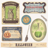 Set of halloween labels and design elements — Stok Vektör