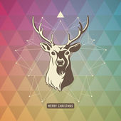Xmas background with star and deer — Vetorial Stock