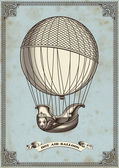 Vintage card with hot air balloon — Vector de stock