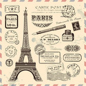 Paris postage design elements — Vettoriale Stock