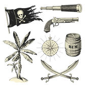 Set of pirates design elements — Vector de stock