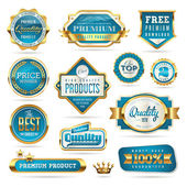 Blue and golden quality stickers — Stock Vector