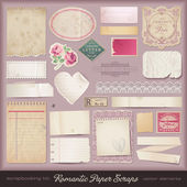 Romantic paper scraps and design elements — Vector de stock