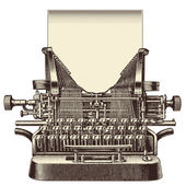 Vintage typewriter with a blank sheet of paper — Stock Vector