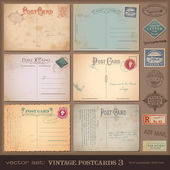 Vintage postcards and postage stamps — Vecteur