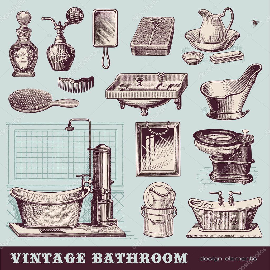 Vintage banheiro — Vetor de Stock © studio accanto #48981159 #411F2C 1024x1023 Acessorios Banheiro Retro