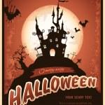 城とコウモリとハロウィンのポスター — ストックベクタ #49207821