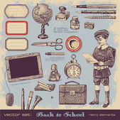 Back to school - vintage elements — Vector de stock