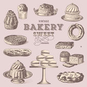 Vintage collection of sweet treats — Vector de stock