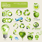 Eco and bio design elements — Cтоковый вектор