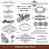 Calligraphic design elements and page decoration — Vettoriale Stock
