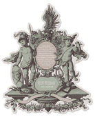 Heraldic cartouche with cherubs — Vetorial Stock