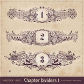 Retro floral chapter dividers — Stock Vector