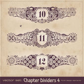 Retro floral chapter dividers — Vecteur
