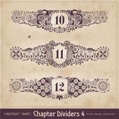 Diviseurs de chapitre floral rétro — Vecteur