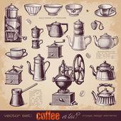 Coffee or tea - set of vintage elements — Stock Vector