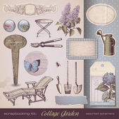 Cottage Garden - retro design elements — Vetor de Stock