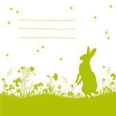 Floral easter card with bunny — Vecteur
