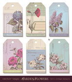 Floral tags - flowers — Vector de stock