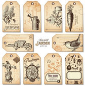 Set of retro garden tags — Stok Vektör