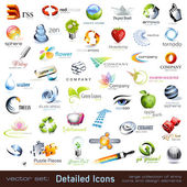 Collection of detailed icons — Stock Vector