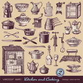 Kitchen and cooking vintage illustrations — Stock Vector