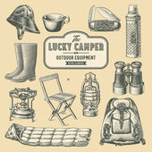 Retro camping equipment — Vector de stock