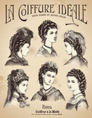 Vintage placard with hairstyles — Vecteur