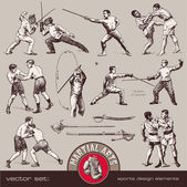 Set of Martial arts — Vector de stock