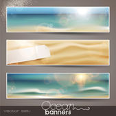Set of horizontal ocean banners — Stok Vektör
