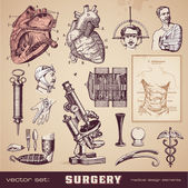 Surgery - medical design elements — Vector de stock