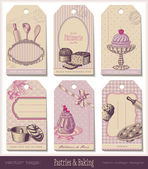 Set of pastries gift tags — Stock Vector