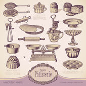 Set vintage baking elements — Stock Vector