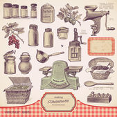 Set of preserves and homemade food — Vector de stock
