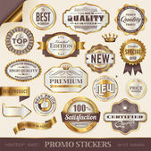 Golden promo stickers, seals and badges — Stock Vector