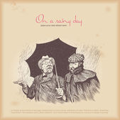 Two men on a rainy day — Vector de stock